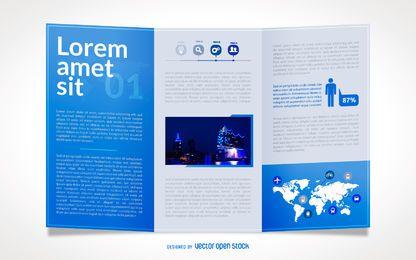 Business brochure blue template