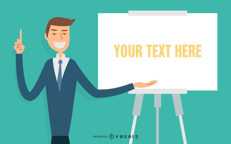 Illustrated businessman speech