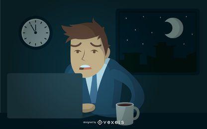 Homem negócios, trabalhando, tarde, ilustração