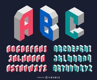Modern isometric font