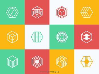 Coleção de modelo de logotipo poligonal