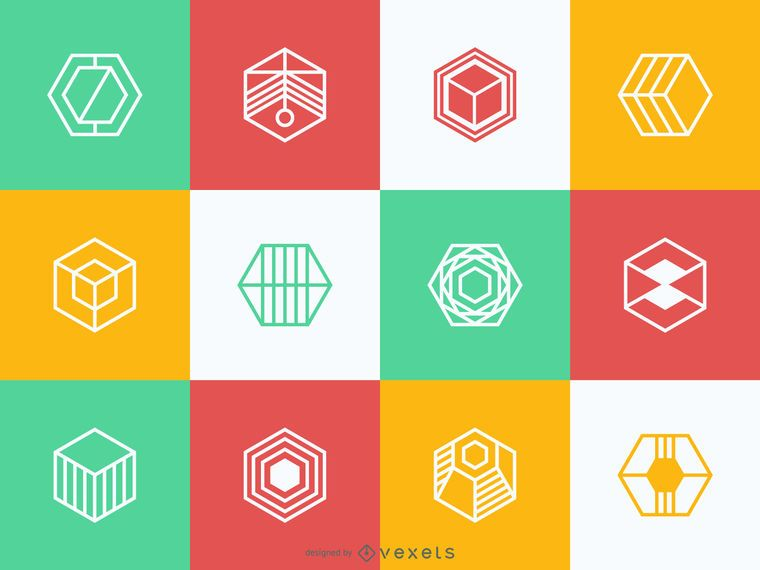 Polygonal logo template collection