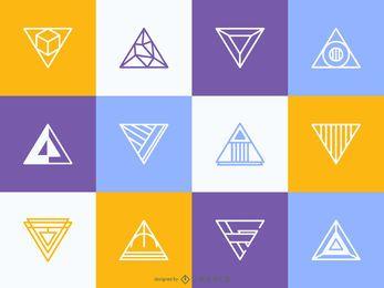 Conjunto de modelo de logotipo triangular hipster