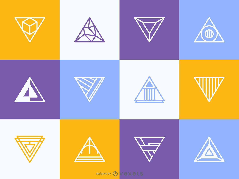 Hipster triangular logo template set