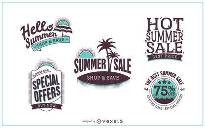 Modelo de logotipo de distintivo de venda de verão