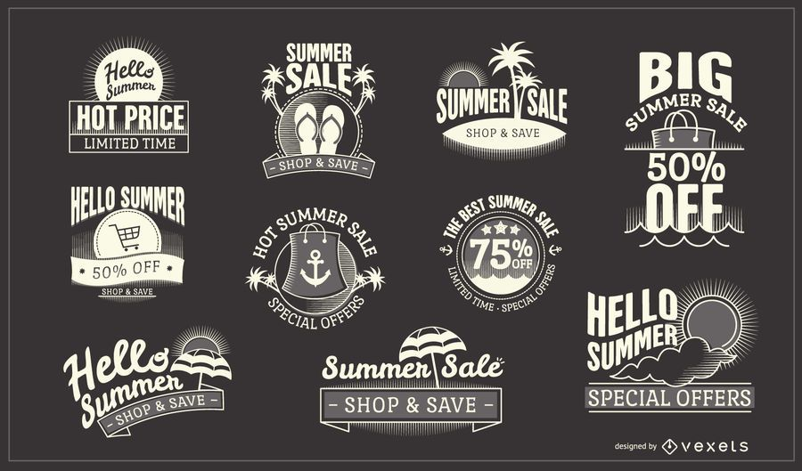 Summer Sale Business Badge Design Collection