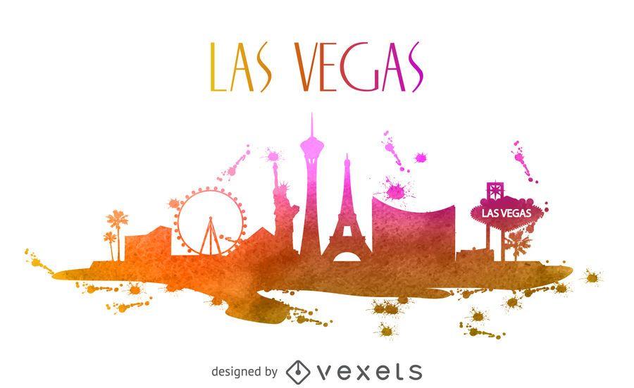 Skyline de aquarela de Las Vegas