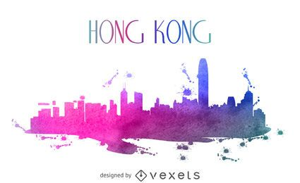 Horizonte em aquarela de Hong Kong
