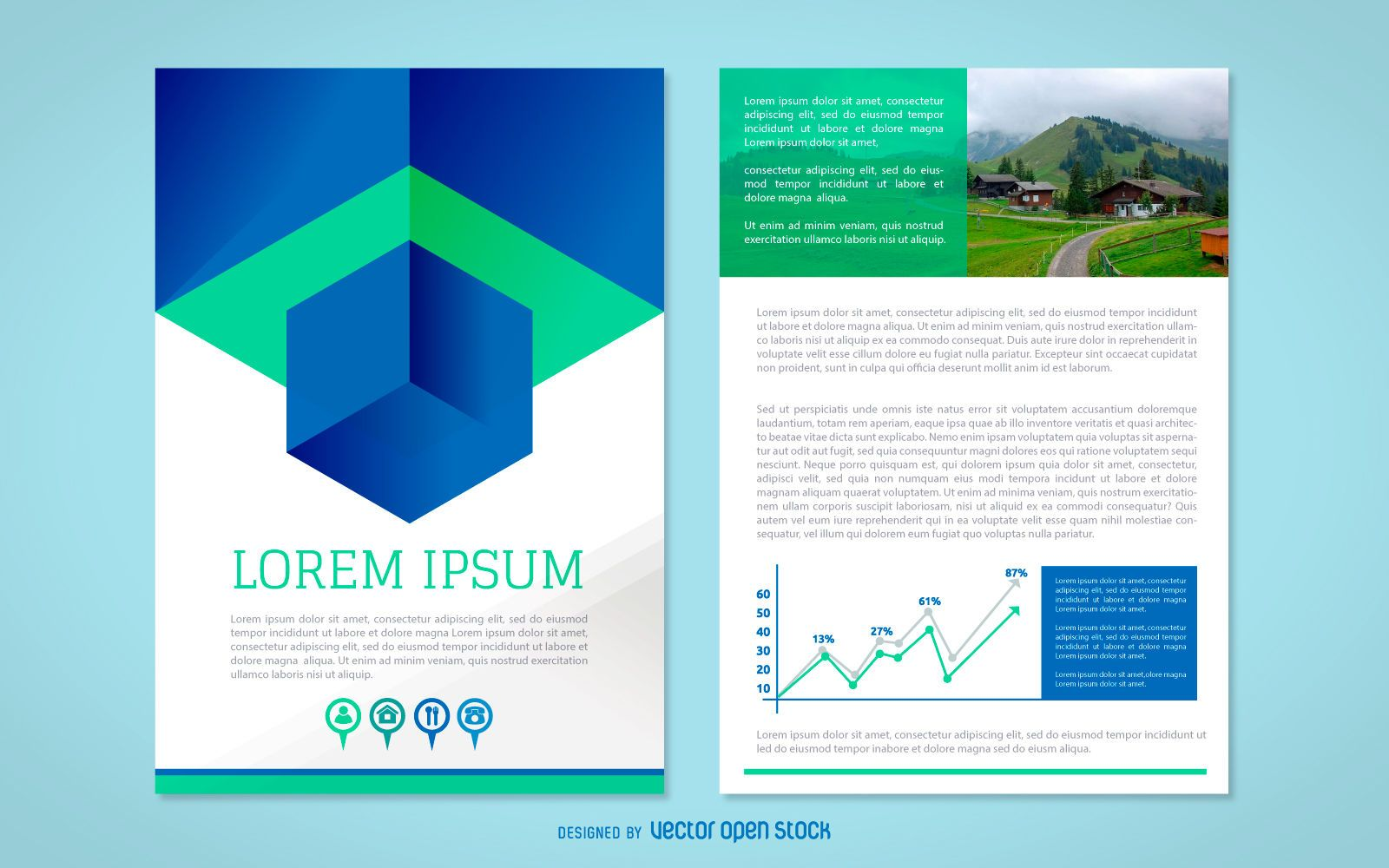 Business brochure blue