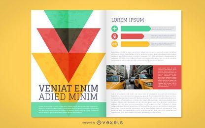 Maqueta de folleto comercial colorido