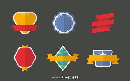 Flat badge set