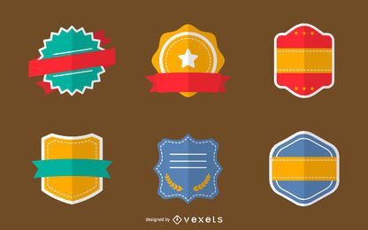 Flat badges set