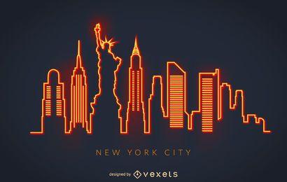Horizonte de neón de nueva york