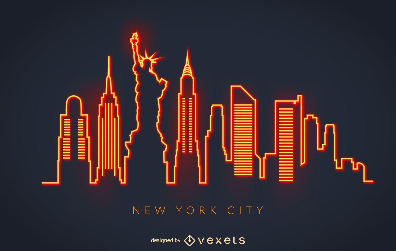 New York Neon Skyline Vector Download