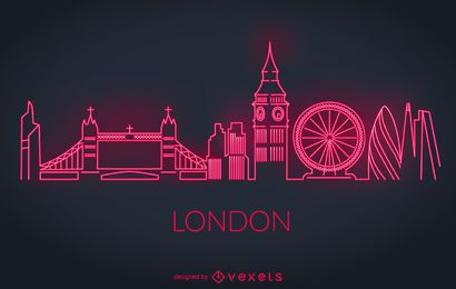 London Neon Skyline Silhouette
