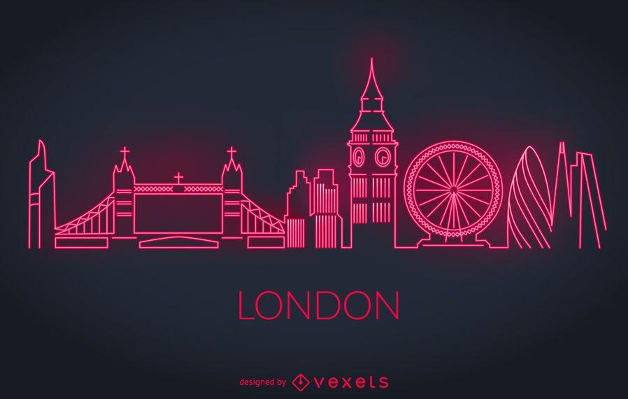 Londres silueta de neón del horizonte