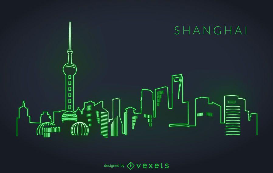 Horizonte de neón de shanghai