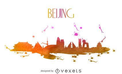 Skyline de aquarela de Pequim