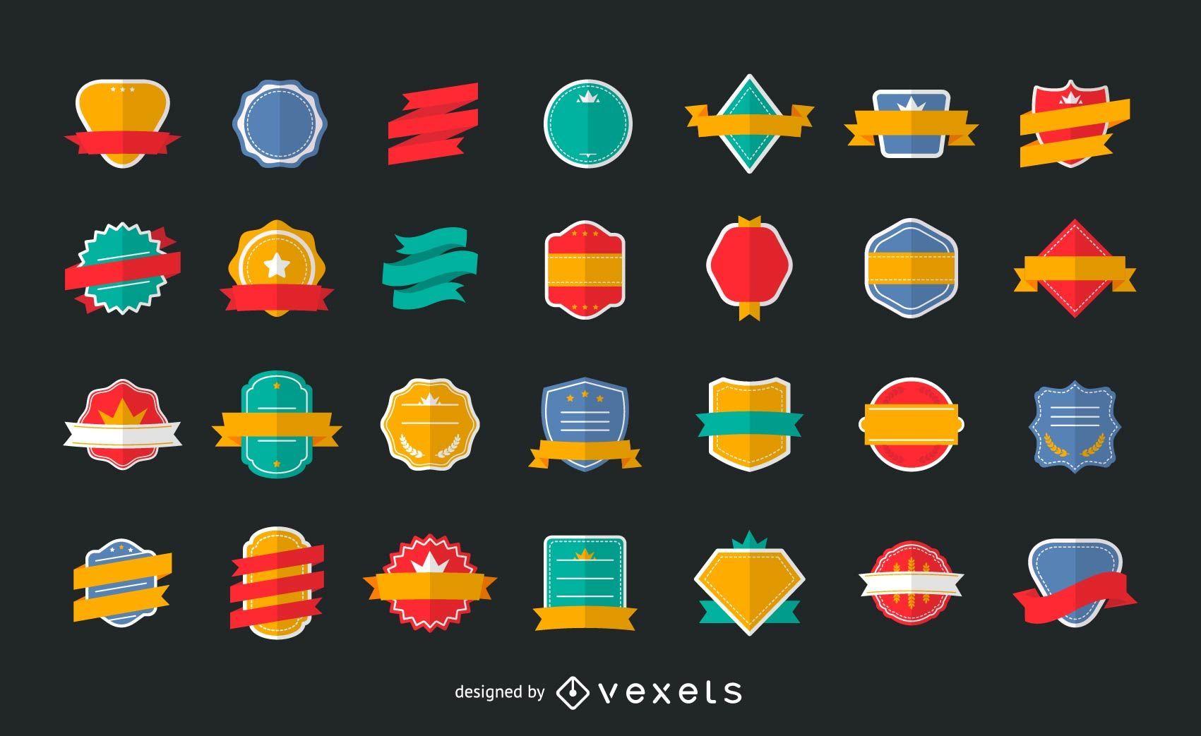 Colección de etiquetas de logotipo plano