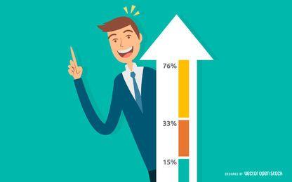 Ilustración de éxito de crecimiento de negocio