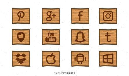 Kostenlose Social Media-Holzschnitt-Icons