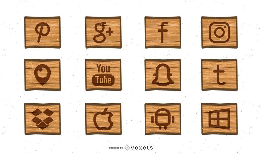 Free Social Media Woodcut Icons