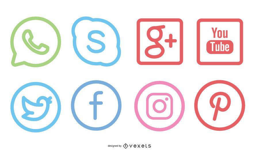 Pacote de ícones de mídia social mínima