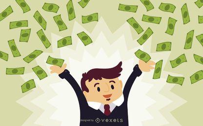 hombre de negocios con la caída de dinero en efectivo