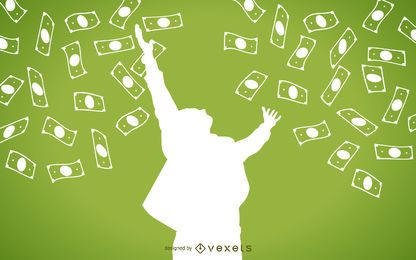 La caída de dinero en efectivo con la silueta del hombre