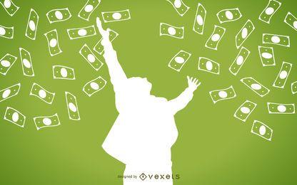 La caída de efectivo con la silueta del hombre