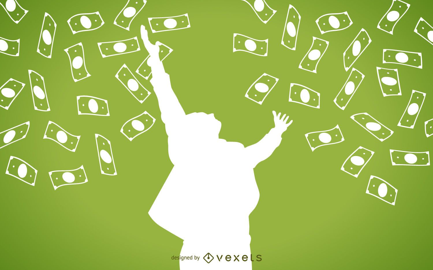 Falling cash with man silhouette