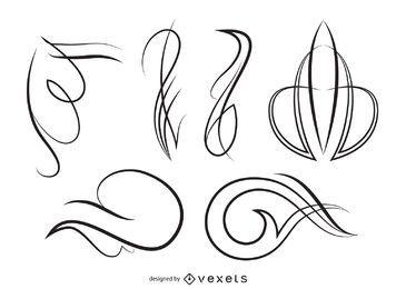 Conjunto de adornos de arte lineal.