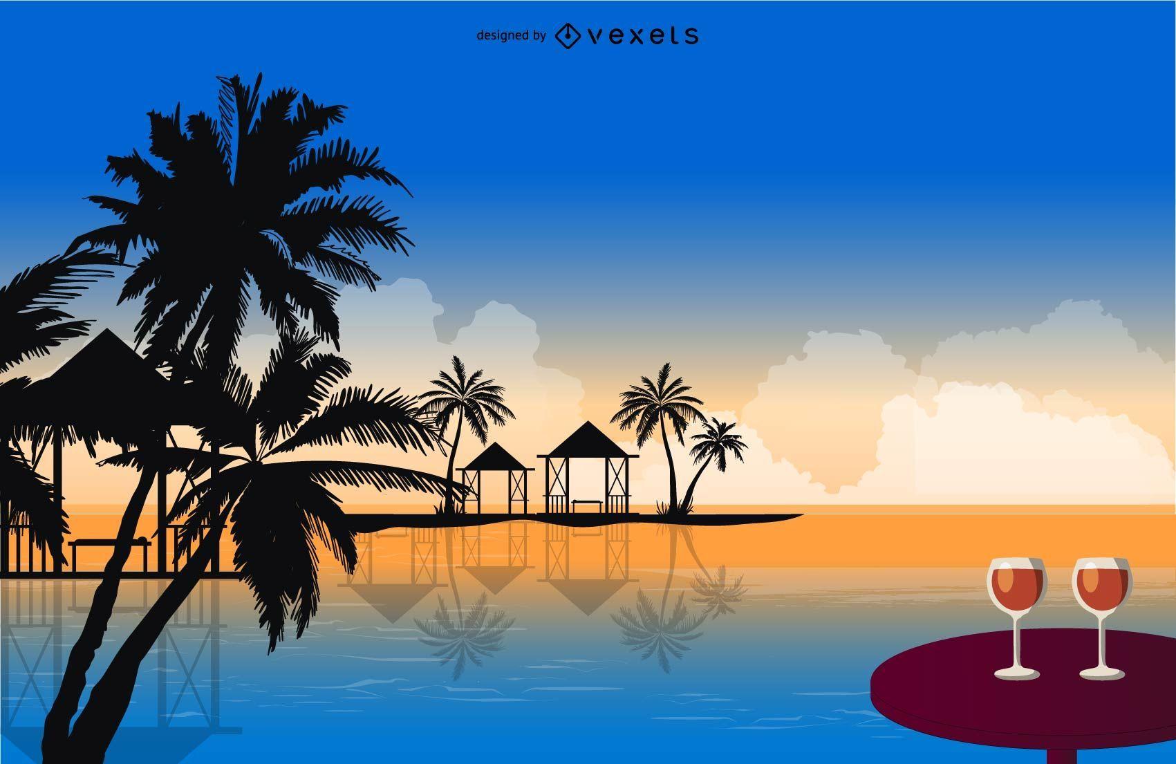 Tropical holiday illustration design