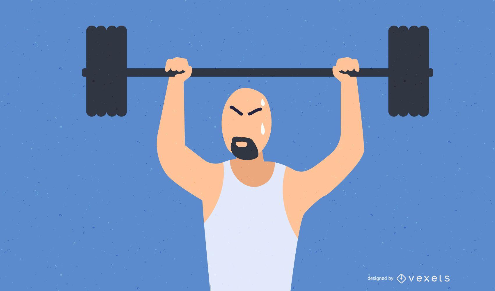 Sweating man illlustration