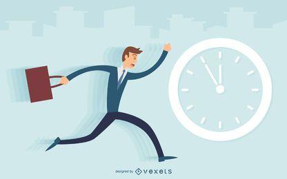 Homem negócio, executando, tarde, ilustração