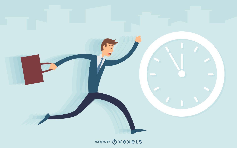 Hombre de negocios corriendo tarde ilustración