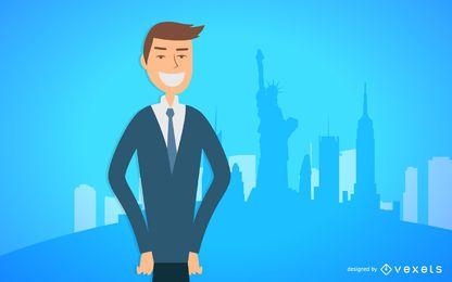 Hombre de negocios, sonriente, ilustración