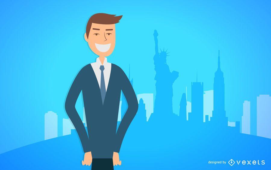 Homem negócio, sorrindo, ilustração