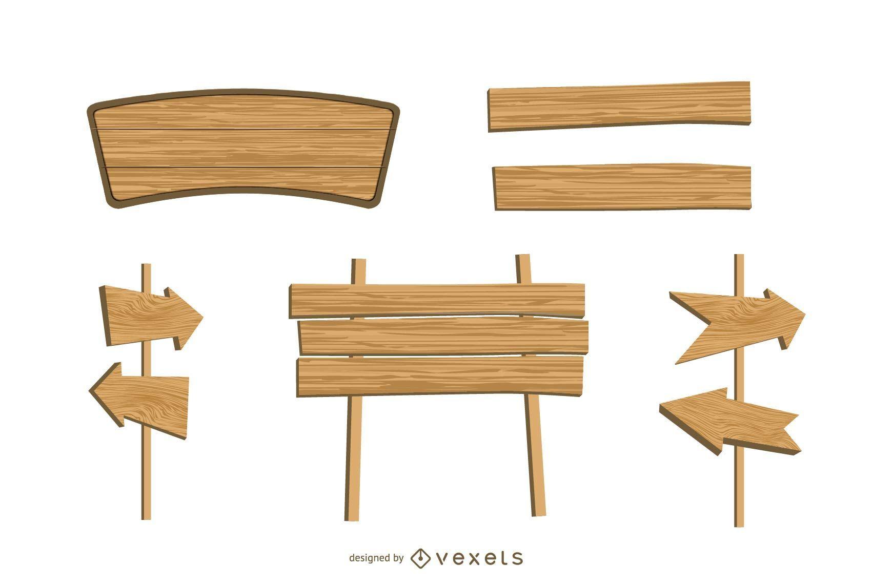 Wood Signs Vector Set