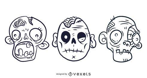 3 kostenlose illustrierte gruselige Zombie-Vektorgrafiken