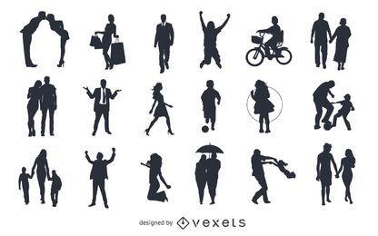 Pack de vectores siluetas, figuras