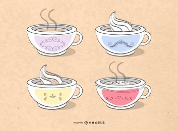 Desenhos de xícaras de café
