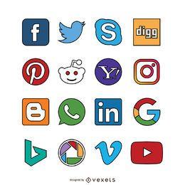 Ícones sociais dos media acidente vascular cerebral