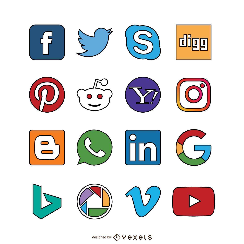 Iconos de trazo de redes sociales