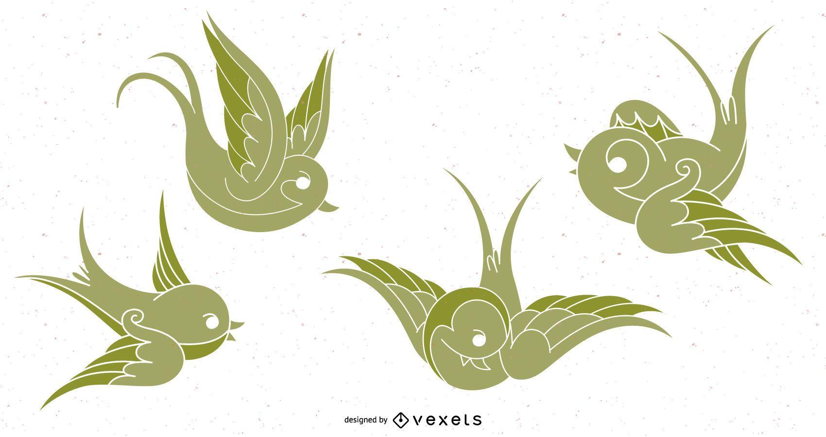 VECTOR BIRDS - SPARROWS