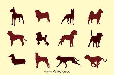 Conjunto de siluetas vectoriales de perro
