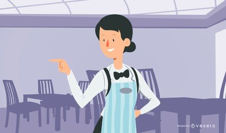 Diner Girl Server Illustration