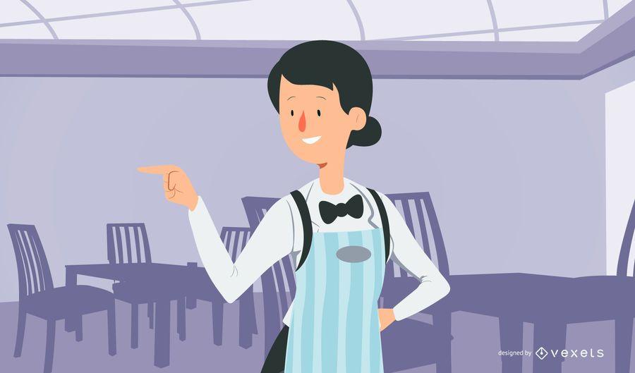 Diner Girl Server Illustration