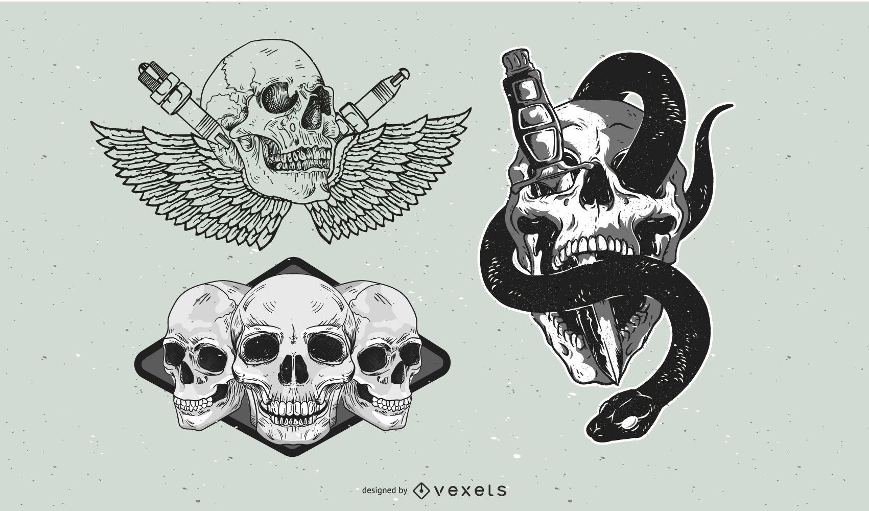 Vintage skull design elements