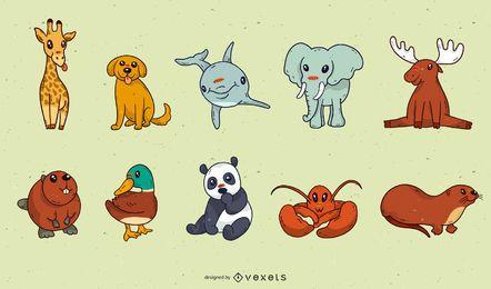 Lindo paquete de dibujos animados de animales bebé